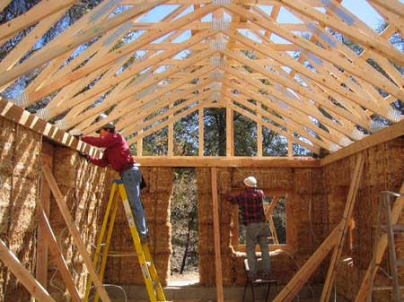 straw bale house walls with roof trusses